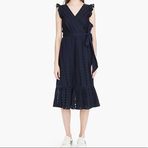 NWT Navy midi wrap dress with all over eyelet